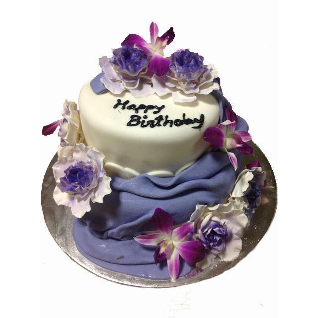 2 Tier Wedding Cake Purple Flowers